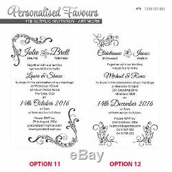 50x Engraved Real Wood Wedding Invitations 11B Size