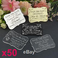 50x Personalised Favours Wedding Save the Date Fridge Magnets Mini Invitations