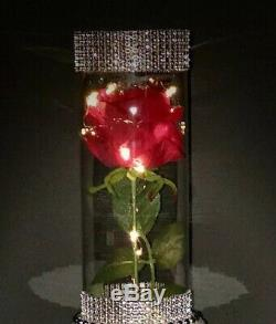 5 Red Rose Led Wedding Centerpieces, inspired by beauty and the beast
