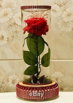 5 Red Roses Decorated With Led. (handmade)