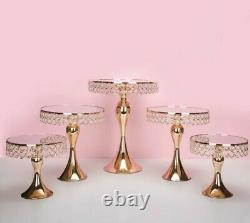 5pc. Gold Electroplate Crystal Mirror Face Wedding Party Cake Stand Set