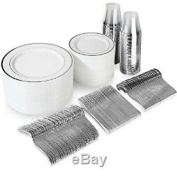 600 Piece Silver Plastic Dinnerware Set 100 Guests Plates, Cutlery & Cups