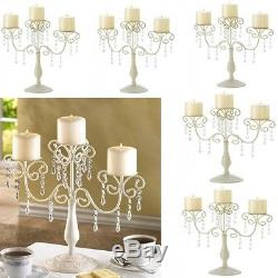 6 Ivory Candelabra Candle Holder Curlicues Crystal Wedding Centerpieces