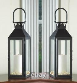 6 Lot Large 15 Black Tall Candle Holder Lantern Lamp Wedding Table Centerpieces