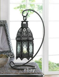 6 black Moroccan 13 Candle holder Lantern wedding table centerpiece WITH stand
