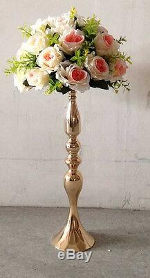 6 pieces Wedding Floral Feather Ball Stand Pillar Candle Holder Gold 20 Inch