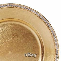 72 pcs 13 GOLD ROUND CRYSTAL BEADED ACRYLIC CHARGER PLATES Wedding Party Dinner