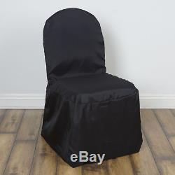 75 Black POLYESTER BANQUET CHAIR COVERS Wholesale Wedding Party Decorations
