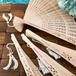 75 Personalized Intricately Carved Sandalwood Fan Wedding Bridal Shower Favors
