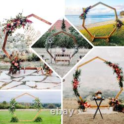 7FT Wooden Wedding Arch, Heptagonal Wedding Arbor, Photo Booth Backdrop Stand