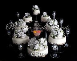 8 TIER CASCADE WEDDING CAKE STAND WithFOUNTAIN & 8 GLASS VOTIVE SET (STYLE R803)