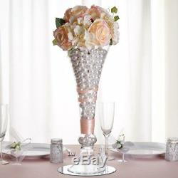 8 pcs 18 tall Clear GLASS Trumpet VASES Wedding Party CENTERPIECES Supplies