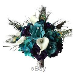 8pc Set Peacock Bouquet, Boutonniere, and Corsage Shades of Jade/Teal, eggplant