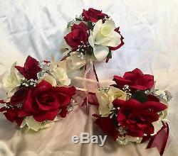 9 Piece Package Burgundy Red Ivory Silk Wedding Flowers Bridal Bouquet