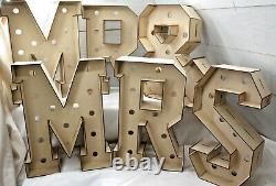 A394 MR & MRS 3D LETTERS S 470 TALL with/out holes doughnut donut wedding party