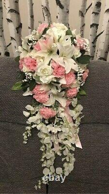 ANY COLOUR AVAILABLE Bride Bouquet Shower Teardrop Artificial Silk Flowers Posy