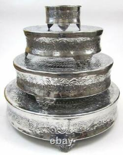Aluminium Round Wedding Cake Stand Intricately Designed Home Decor, 22 by 18 by