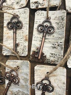 Antique Vintage Key Bottle Openers with birch bark tags Rustic Wedding Favor