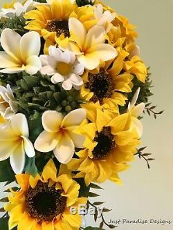Artificial Wedding Bouquet Set Sunflowers and Frangipani Bouquets Bridal