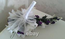 BRIDAL SHOWER BOUQUET TEARDROP BLACK & WHITE Lily Roses Lily of Valley & BLING