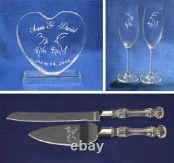 Beauty and the Beast Wedding knife cake server plus glasses and topper NEW