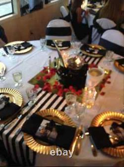 Black/White Striped Table Runners