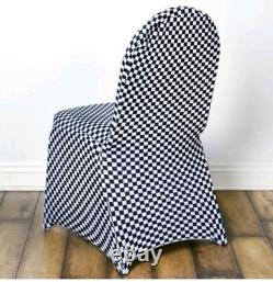 Black and White Checkered Spandex Universal Chair Cover set of 50