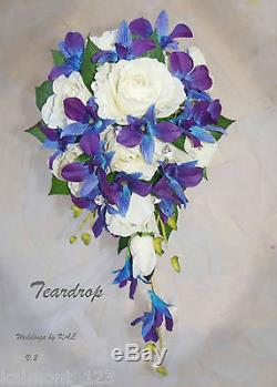 Blue Purple orchids & Rose Real Touch Teardrop Bridal Bouquet set CRYSTALS