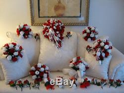Bridal Bouquet & 20 piece Wedding Package In Your Colors Free Shipping