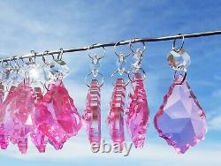 CHANDELIER DROPLETS CRYSTALS x 20 ANTIQUE ROSE PINK CUT GLASS PARTS DROPS BEADS