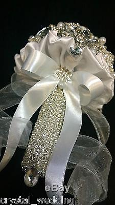 Crystal bouquet The Eternity brooch brides wedding Bouquet SCROLL TO SEE VIDEO