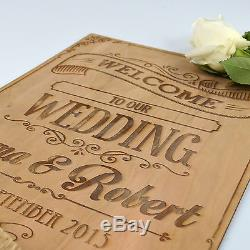 Custom Engraved Wooden Ceremony/Reception Welcome Sign for Wedding/Engagement