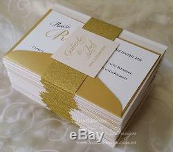 DIY wedding invitations kit makes 24 glitter invites reply and info cards bundle