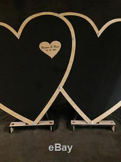 DOUBLE HEART FRAME Personalized Alternative Wedding guest book top drop 216 3s