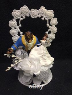 Disney Beauty and the Beast Wedding Cake Topper lot Glasses, knife, server, book
