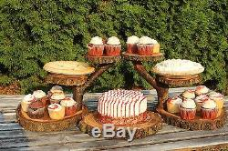 Elm Wood Rustic Cake Cupcake Stand Wedding party shower 6 Tier wild things are