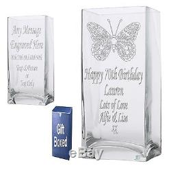 Engraved 22cm Rectangle Vase 40th 50th 60th 65th Birthday Gift Present