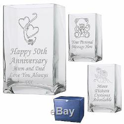 Engraved Rectangle Vase 1st 20th 25th 30th 35th Wedding Anniversary Gift