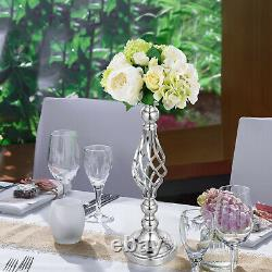 Flower Rack for Wedding 10pc Metal Candle Stand 18.6 Height Silver Centerpieces