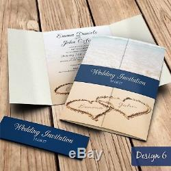 Gatefold Wedding Invitations with Belly Band + Free Envelopes