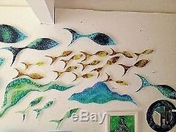 Genuine Jo Downs Bespoke Yellow and Brown Reef Fish Shoal Direct From The Studio