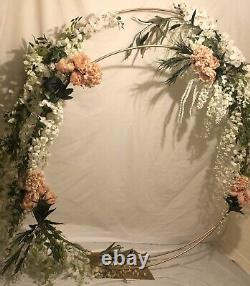 Gold Double Circle Moongate Arch 180cm Flowers Arch Balloons Decor Wedding Party