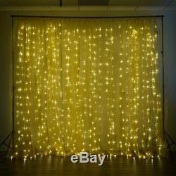 Gold LED Lights on Organza BACKDROP 20 ft x 10 ft Party Wedding Decorations