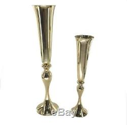 JOB LOT Gold Flower Vase Mermaid Vase Trumpet Centerpieces for Wedding 22 10pcs