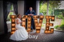 Large Light Up letters for sale Wood 4ft LOVE with HEART Cabochon Bulbs #wedding