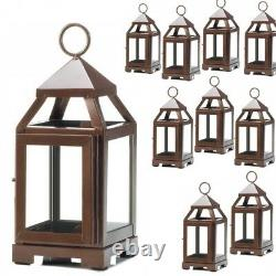 Lot 10 Copper Bronze 8.75 Small Lantern Candle Holder Wedding Centerpieces