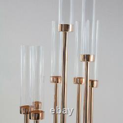 Metal Glass Candle Holder Staggered 140cm Rose Gold Centrepiece Aisle Decor