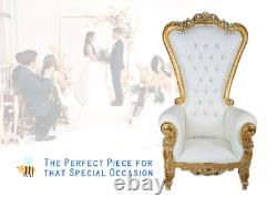 NEW Gold White 6ft King Queen Throne Chair Diamond Tufted Wedding Banquet Party