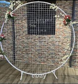 New! 2M White Round Hoop Arch Mesh Backdrop Flower Display Stand Frame Wedding