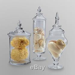 New Apothecary 3 piece Jar Set Buffet Clear Glass Lid Candy Wedding Gift Decor